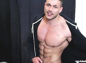jacking-off;muscle-worship;convict;prison;gym;cocky;arrogant;powerful;dominant;submit;obey;flex;flexing,Muscle;Big Dick;Gay Flex And Cum