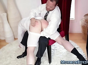 handjob,spanking,twink,old and young Mormon gets spanking