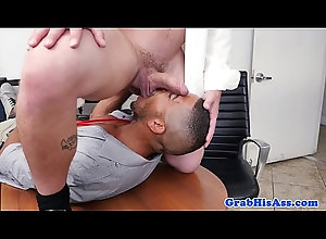 anal,cumshot,tattoo,threesome,glasses,jerking,asseating,assfucking,gay,suit,muscular,hunk,rimjob,tie,gaysex,gay Muscled boss...